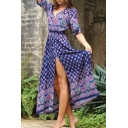 V-Neck Drawstring Waist Tribal Print Split Side Beach Dress