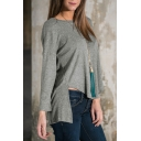Round Neck Long Sleeve High Low Plain Pullover Loose Sweater