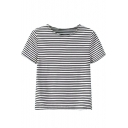 Round Neck Short Sleeve Stripes Cropped Slim Tee