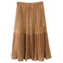 Elastic Waist Pleated Plain Patchwork A-Line Skirt