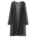 Sheer Lace Plain Long Sleeve Collarless Longline Coat