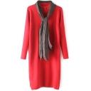 Red Plain Split Hem Longline Long Sleeve Sweater with Scarf