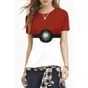 Color Block Cartoon Print Round Neck Short Sleeve Tee