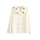 Sunflower Embroidery Long Sleeve Loose Button Down Shirt