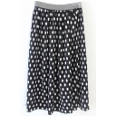 Elastic Waist Polka Dot Color Block Pleated Midi Skirt