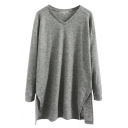 Long Sleeve Split Side Tunic V-Neck Plain Loose Tee