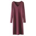 Plain V-Neck Long Sleeve Slim Maxi Pullover Dress