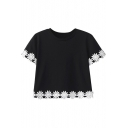 Round Neck Crochet Patchwork Cropped Short Sleeve Tee