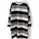Round Neck Long Sleeve Stripes Color Block Tunic Tee