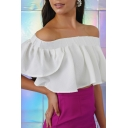 White Off The Shoulder Short Sleeve Ruffle Detail Cropped Blouse