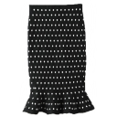 High Wast Houndstooth Polka Dot Fishtail Style Knit Skirt