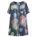 Button Down Single Pocket Sad Balloon Print Denim Dress