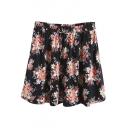 Elastic Waist Vintage Floral Print A-Line Mini Skirt