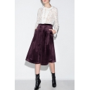 Plain High Waist Double Pockets Cropped Velvet Culottes