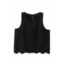 Plain Round Neck Wave Hem Loose Cropped Tank