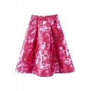 High Waist Rose Print Zip Back A-Line Midi Skirt