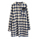 Plaid Single Pocket Cat Patchwork Button Front Shirt Dress