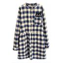 Plaid Single Pocket Cat Patchwork Button Front Shirt Dress