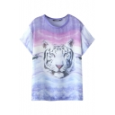 Round Neck Short Sleeve Tiger Print Loose Tee