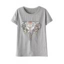 Round Neck Short Sleeve Plaid Elephant Print Loose Tee