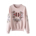 Tribal Embroidery Round Neck Long Sleeve Sweatshirt