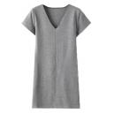 V-Neck Short Sleeve Plain Stretch Shift Mini Dress