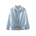 Lapel Button Front Dip Hem Vertical Stripes Loose Shirt