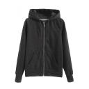 Hooded Zipper Long Sleeve Plain Pocket Front Sweatshirt