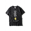 Funny Letter & Pizza Print Short Sleeve Loose Tee