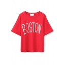 Round Neck Short Sleeve Letter Print Loose Tee