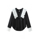 Bow Tie V-Neck Ruffle Hem High Low Color Block Blouse