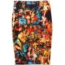 Oil Painting Print High Waist Split Back Midi Pencil Skirt