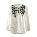 Stand Up Neck Floral Embroidery Button Down Loose Shirt