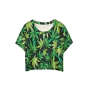 Green Leaf Print Short Sleeve Round Neck Cropped Tee