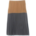 Zipper Side Color Block Pleated Maxi Skirt