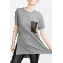 PU Pocket Short Sleeve High Low Split Side Tunic Tee