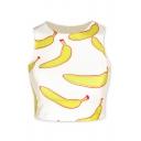Banana Print Color Block Sleeveless Round Neck Cropped Tank