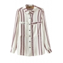 Lapel Stripes Color Block Double Pockets Loose Shirt