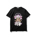 Abstract Crane & Floral Print Short Sleeve Pullover Tee