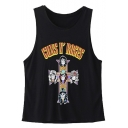 Women's Black Casual Skull Cross Print Summer Vest Top Camisoles