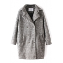 Double Breasted Plain Notched Lapel Thicken Woolen Coat