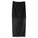 Plain Elastic Waist Gauze Split Back Maxi Skirt