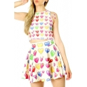 Colorful Hearts Print Slim Cropped Round Neck Tank