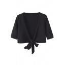 Plain Half Sleeve V-Neck Tie Front Cropped Blouse