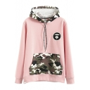 Camouflage Patchwork Hooded Embroidery Pullover Sweatshirt