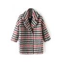 Houndstooth Notched Lapel Color Block Plaid Quilt Coat
