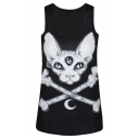 Black Horror Cat Print Scoop Neck Sleeveless Tank