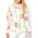 Lapel Floral Print Long Sleeve Button Down White Shirt
