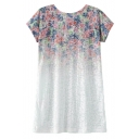 Round Neck Floral Print Ombre Short Sleeve Tunic Tee