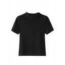 High Neck Short Sleeve Pullover Slim Tee